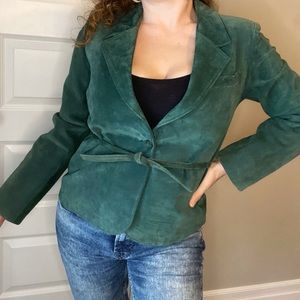 Vintage leather attic green suede jacket
